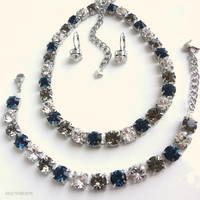 Swarovski crystal necklace, tennis bracelet and earrings, in sapphire and cystal, Sabika inspired, purchase as set or individually