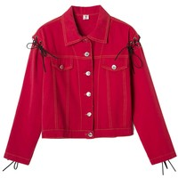 Red Letter Print Lace Up Cuff Denim Jacket