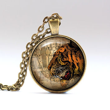 Animal necklace Tiger jewelry Victorian pendant SNW19