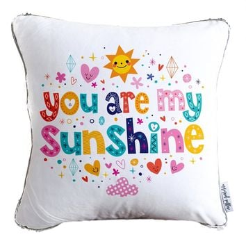 You Are My Sunshine Decorative Throw Pillow w/ Reversible Silver & White Sequins   COVER ONLY (Inserts Sold Separately)