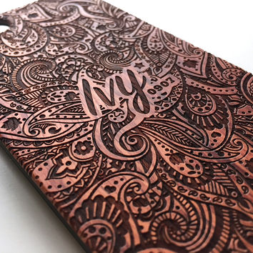 Personalised paisley floral real wood engraved iPhone case