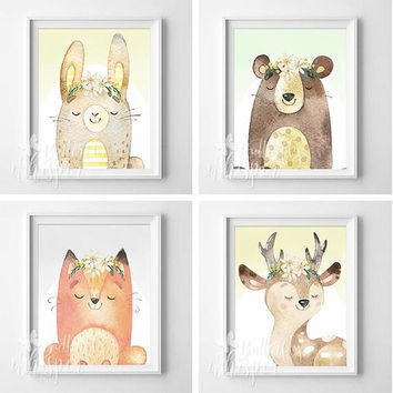 Forest Animals baby Girl Nursery Wall art print, Set of 4 Woodland Kids Room Illustration poster, bear rabbit fox dear