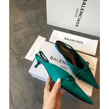 Balenciaga Knife Mules Green Pointed Toe Satin Mule With Kitten Heel - Best Online Sale