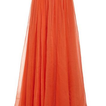 Honor Glass Organza Pleated Maxi Skirt Tomato Red
