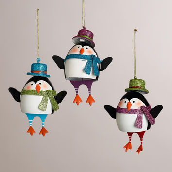 Metal Penguin with Dangle Legs Ornaments, Set of 3 - World Market