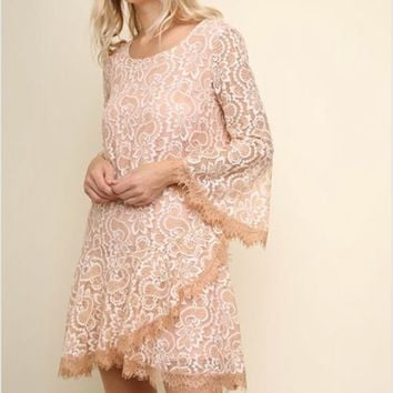 Umgee Bell Sleeve Floral lace Ruffle Hem Dress