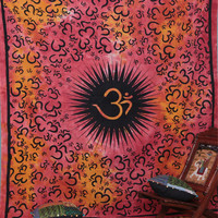 Large Hippie Hippy Wall Hanging , Indian Om Mandala Tapestry Fabric Throw Bedspread Queen Bed Decor Sheet Ethnic Decorative Art