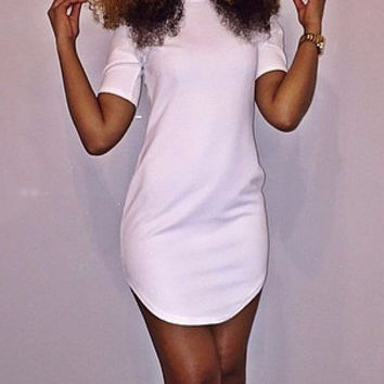 White Short Sleeve Casual Mini Dress