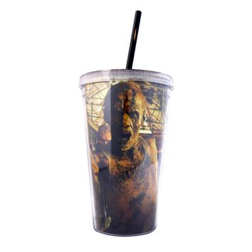 16oz AMC's The Walking Dead Tumbler Travel Cup Screw-On Lid with Acrylic Straw (BPA-Free)