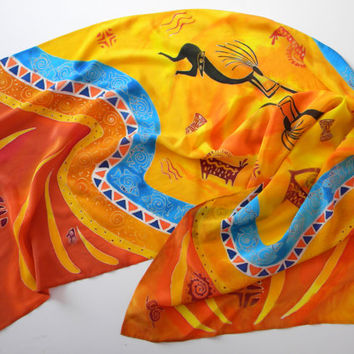 "Orange hand painted silk scarf Handpainted Silk painting silk shawl women's scarves African motifs batik summer scarf 77 ""by 25"""