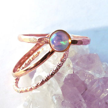 Rose Gold Opal Ring Stacking Set, Rose Gold Opal Rings, Natural Opal ring, Ethiopian Opal rings, October birthstone ring, Bridesmaid gift