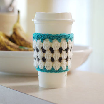 Crochet Coffee Cup Cozy Travel Cup Cozy Cup Sleeve White Mosaic Blue Trim