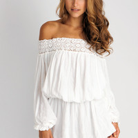 Jen's Pirate Booty Seastar off shoulder mini dress in white: Soleilblue.com