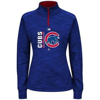 Chicago Cubs Majestic MLB Women's On-Field Icon 1/4 Zip Sweatshirt