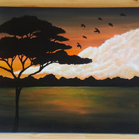 Orange landscape painting,  white cloud painting, acrylic painting, safari tree silhouette, orange and yellow art, flying bird silhouette