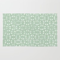 Sage Green White Petals  Rug by KCavender Designs