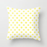 Velveteen Pillow - Yellow Ikat Dots - Throw Pillow - Accent Pillow - Decorative Pillow - Girls Room Decor - Teen Decor - Nursery Decor