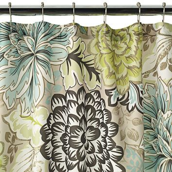 Home Classics Reiko Floral Fabric Shower Curtain (Beige/Khaki)
