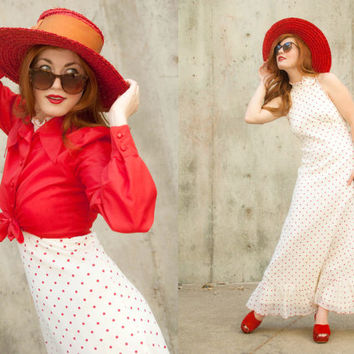 Vintage 1960s dress, white red polka dots, maxi long boho prairie halter wedding sundress, crop jacket S