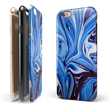 Blue and White Blended Paint iPhone 6/6s or 6/6s Plus 2-Piece Hybrid INK-Fuzed Case