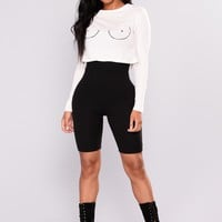 Nip Slip Long Sleeve Tee - White