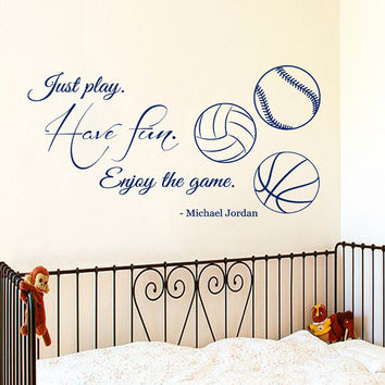 Wall Decals Quote Just Play Have Fun Enjoy The Game Sport Balls Art Gym Interior Design Vinyl Decal Sticker Baby Boy Kids Room Decor kk831