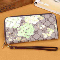 Gucci Women Leather Zipper Flower Purse Wallet