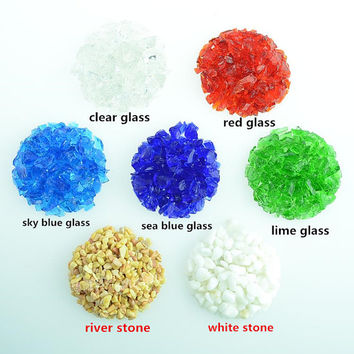 Glass gravel/stones/pebbles 3oz each bag appx. 3-9mm fit marimo aquarium,marimo underwater living,garden terrarium accessories