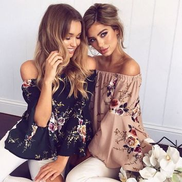 Summer Fashion Women Off Shoulder Chiffon Blouse Floral Printed Gril's Casual Flare Sleeve Cool Shirts ZL3179