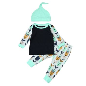 3pcs Newborn Baby Girl Boy Clothes Long Sleeve Cotton Solid Romper Jumpsuit +Long Arrow Pants Leggings+Hat Baby Clothing Set