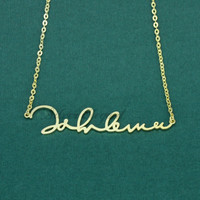 Horizontal Signature Pendant - Signature Necklace - Name Necklace - Meaningful Gift - Sterling Silver /18K Gold Plated