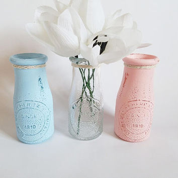 Gender Reveal Party Decor - Pink and Blue Centerpiece - Baby Shower - Baby Nursery Decor - Dairy Bottle Vases - Sprinkle Decor - Milk Bottle