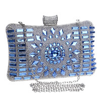 New 2016 glass diamond silver evening bags top quality gold clutch bag elegant blue bag party wedding bridal purse 4 colors