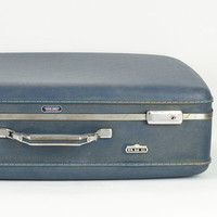 Lare Vintage Denim Blue American Hard Shell Suitcase 1960's