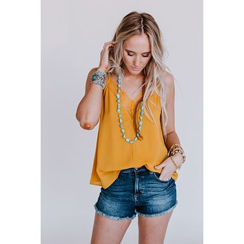 Cambry Lace Insert Camisole - Mustard