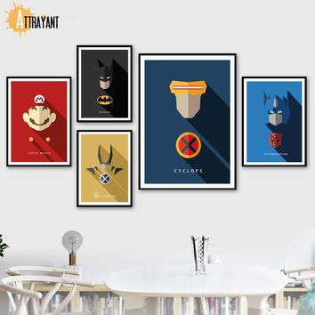 Batman Dark Knight gift Christmas Superhero Mario Wolverine Batman Cyclops Nordic Posters And Prints Wall Art Canvas Painting Wall Pictures For Kids Room Decor AT_71_6