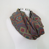 Pashmina woven infinity scarf, colorful geometric loop scarf. circle shawl, spring shawl