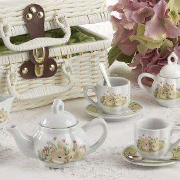 Childrens Porcelain Girls Tea Set - Bunny in Wicker Style Basket - FREE TEA INCLUDED!