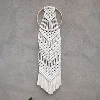 Girls room decor White wall decor Macrame wall hanging Round tapestry Nursery decor