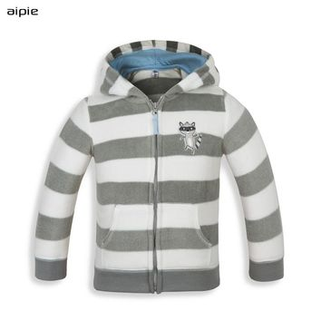 aipie Hot Sale High quality Brand Baby's European Style Flannel Hooded Jackets clothing