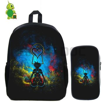 Anime Backpack School kawaii cute Kingdom Hearts Sora Shadow Backpack 2 Pcs/set School Bag for Teenage Girls Boys Travel Shoulder Bags Kids Daily Backpack AT_60_4