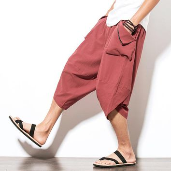Helisopus male Boho Harem Pants Streetwear Mid Waist Loose Leisure Hiphop Pants Drawstring Big Pockets mens boho Harem pants 5xl