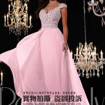 2015 Newest Arrive Cap Sleeve Pink  Deep V-Neck Royal prom dress / Bridesmaids Dresses /  evening dress /Stock size :6-16