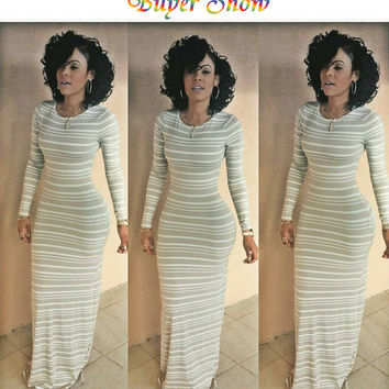 Womens Beige White Strip Floor Length Maxi Long Sleeve Casual Dress 2016 New Spring