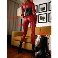 Hot Leather jumpsuit Hot Women Faux Leather Jumpsuit Snake Skin Jumpsuit Front Zip Long SLeeve Bodysuit Spandex Catsuit Women