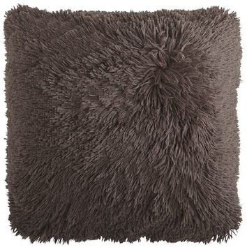 Oversized Long Shaggy Pillow - Chocolate
