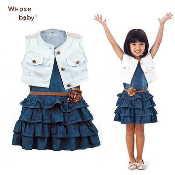 Princess Girls Dresses Summer Denim Dresses For Girls Vestido infantil Coat+denim Dress 2pcs Set With Belt Toddler Party Clothes
