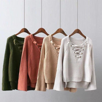 Fashion Loose v-neck Set head Sweater