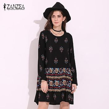ZANZEA Boho Womens Floral Print O Neck Spring Long Sleeve Party Casual Mini Dress Summer Beach Rayon A Line Vestidos Plus Size