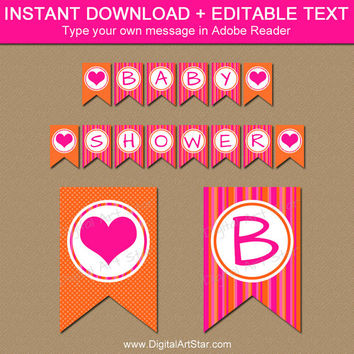 Baby Shower Banner Instant Download - Hot Pink and Orange Baby Shower Decorations - Girl Birthday Banner - Printable Bridal Shower Banner